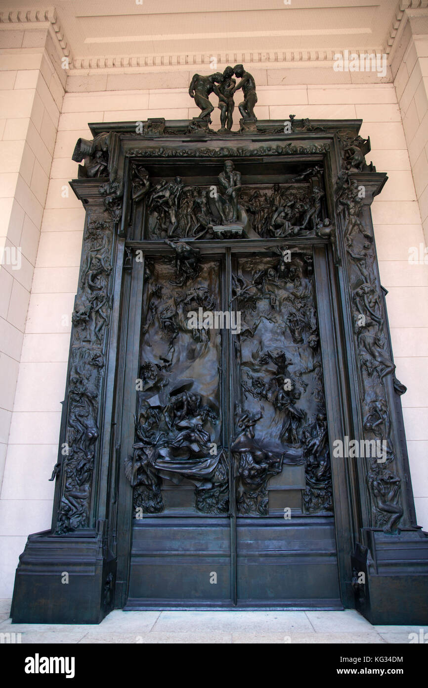 Rodin S Gates Of Hell Sculpted Doorway At Rodin Museum In Stock