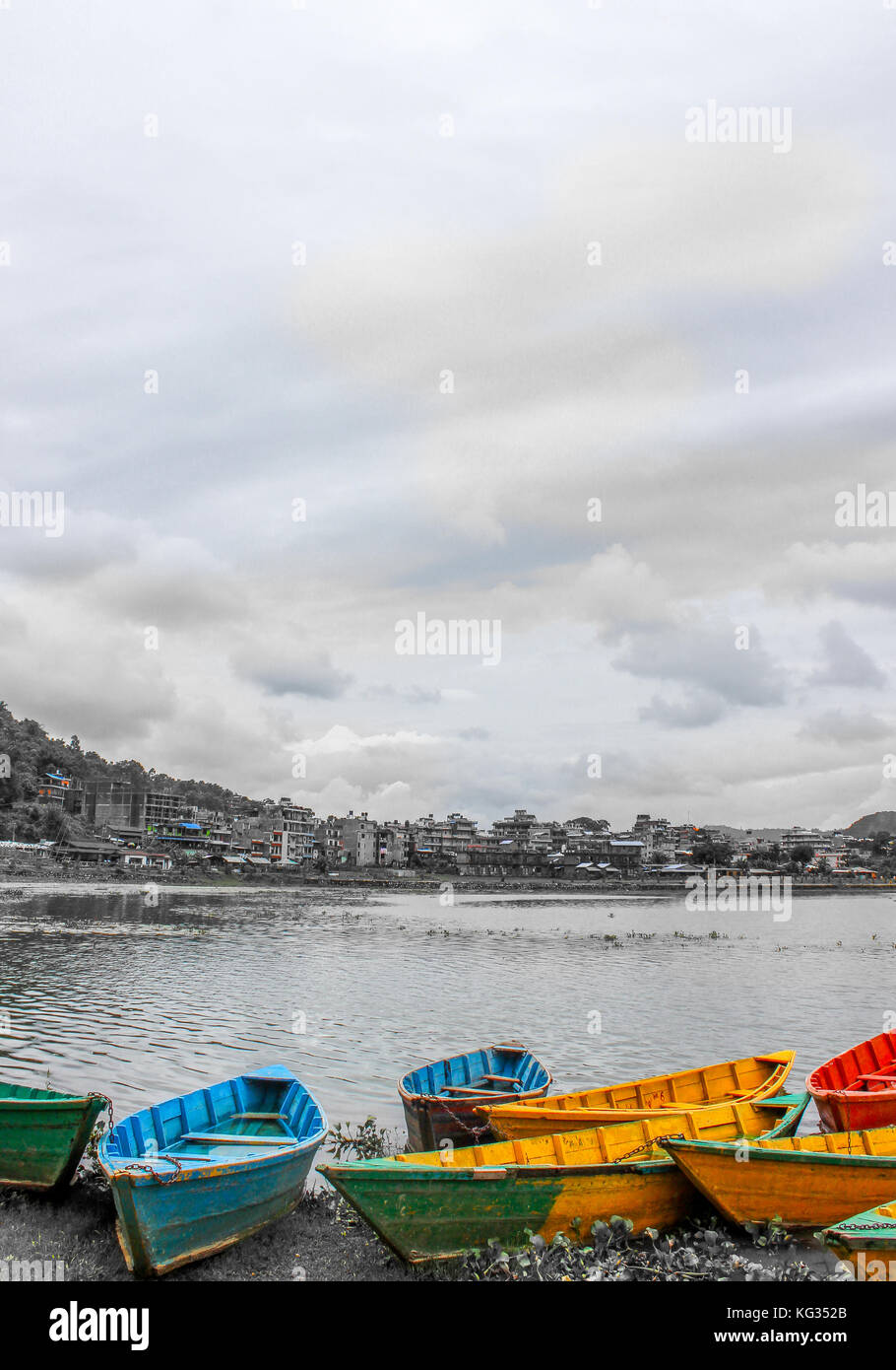 boats on the Pokhara lake in Nepal - Stock Image