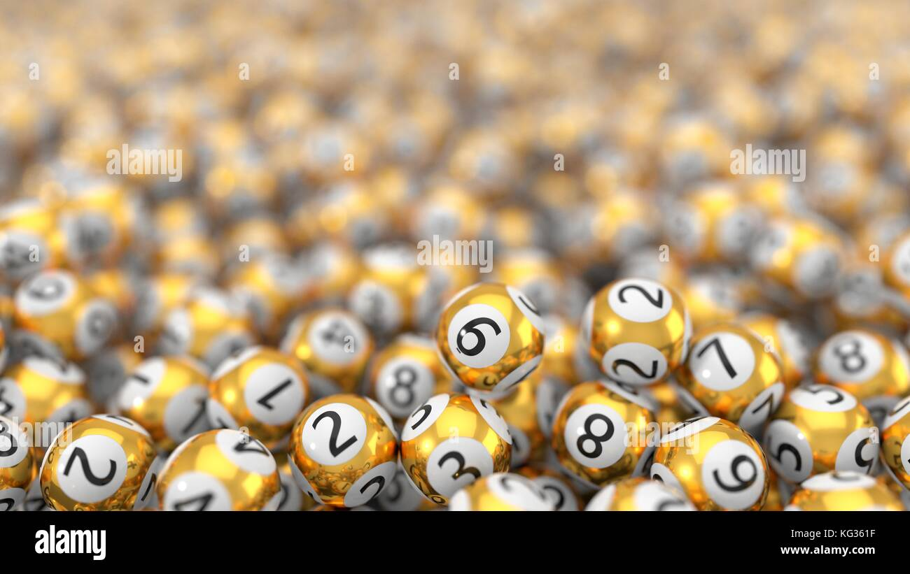 golden lottery balls stack background with hard dept of