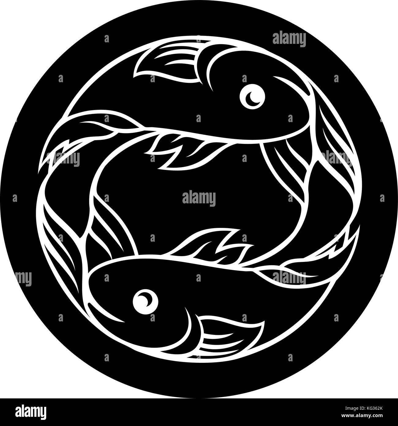 Fish Pisces Star Sign Fish Black And White Stock Photos Images Alamy