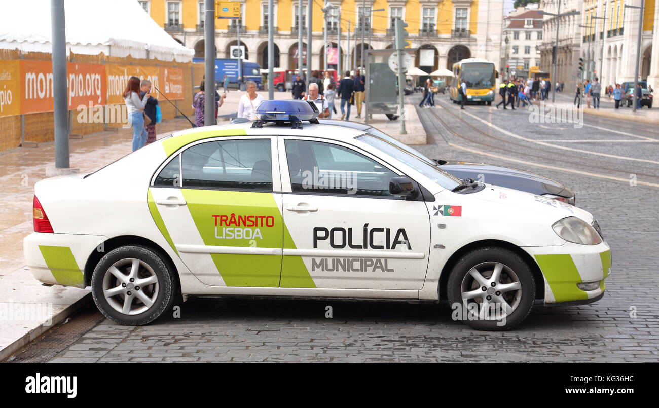 Police car in the city centre of Lisbon, Portugal - Stock Image