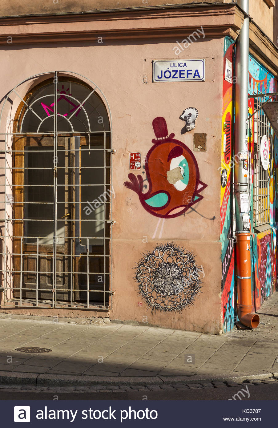Unattributed wall art on a building in the artist area of Krakow - Stock Image