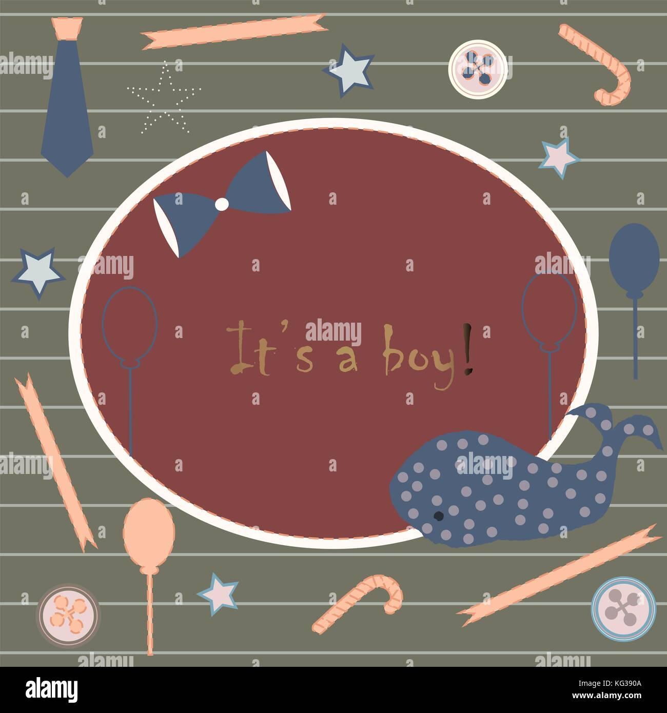 Baby Boy Birth announcement. Baby shower invitation card. Cute whale ...