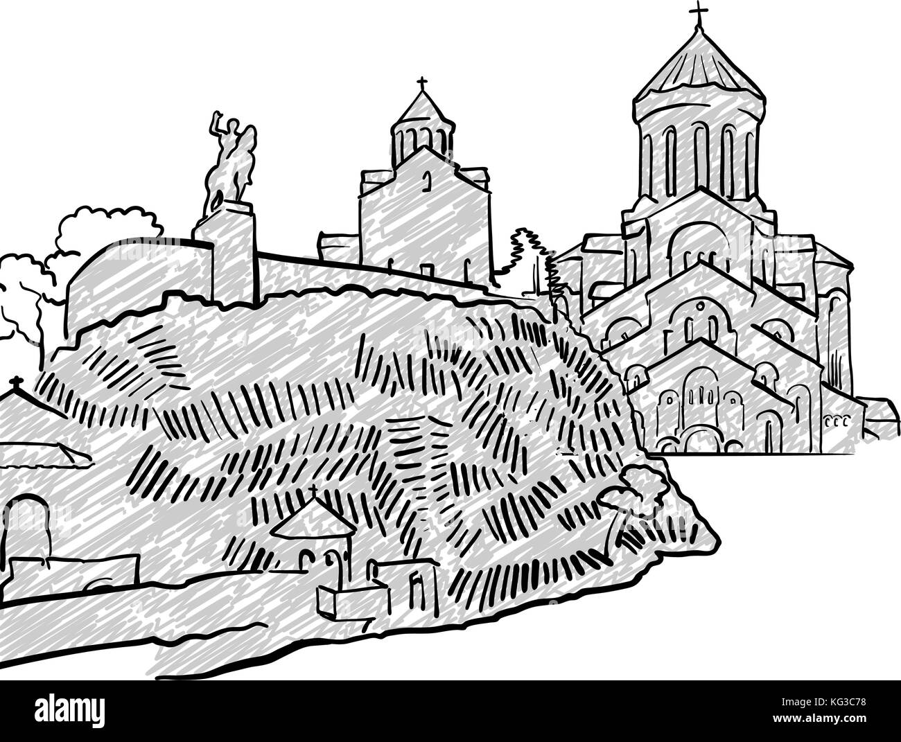 Tbilisi, Georgia famous Travel Sketch. Lineart drawing by hand. Greeting card design, vector illustration - Stock Vector