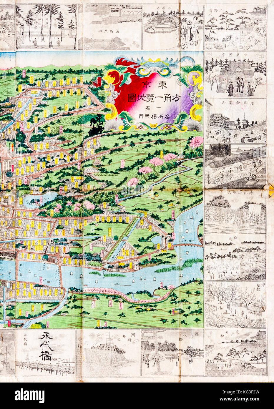 Map japan tokyo stock photos map japan tokyo stock images alamy japan tokyo 1882 colour map of tokyo edo with edge drawn black gumiabroncs Choice Image