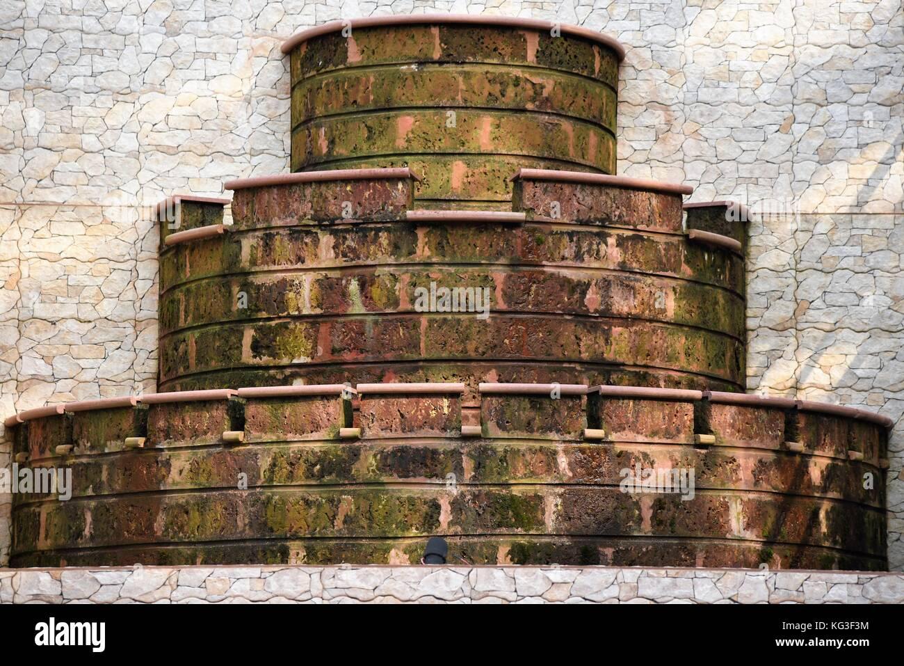 unique rock structure for fountain - Stock Image