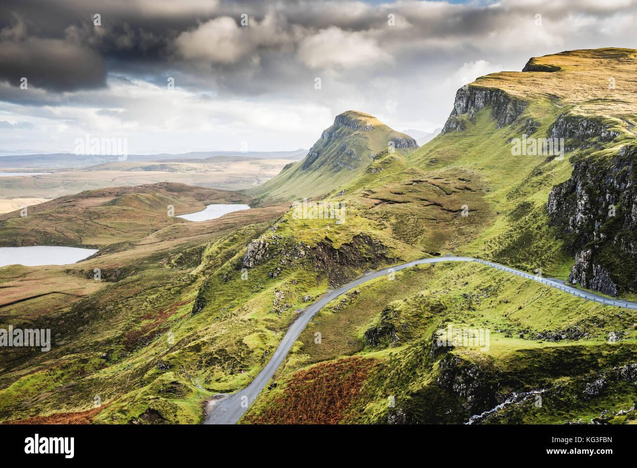 Landscape view of Quiraing mountains on Isle of Skye, Scottish highlands, Scotland, United Kingdom - Stock Image