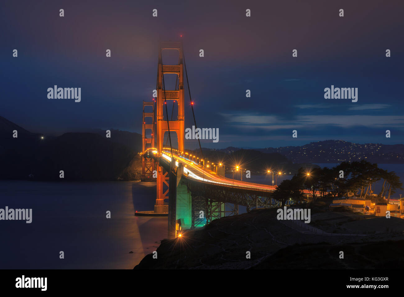 Golden Gate Bridge at night seen from San Francisco. - Stock Image