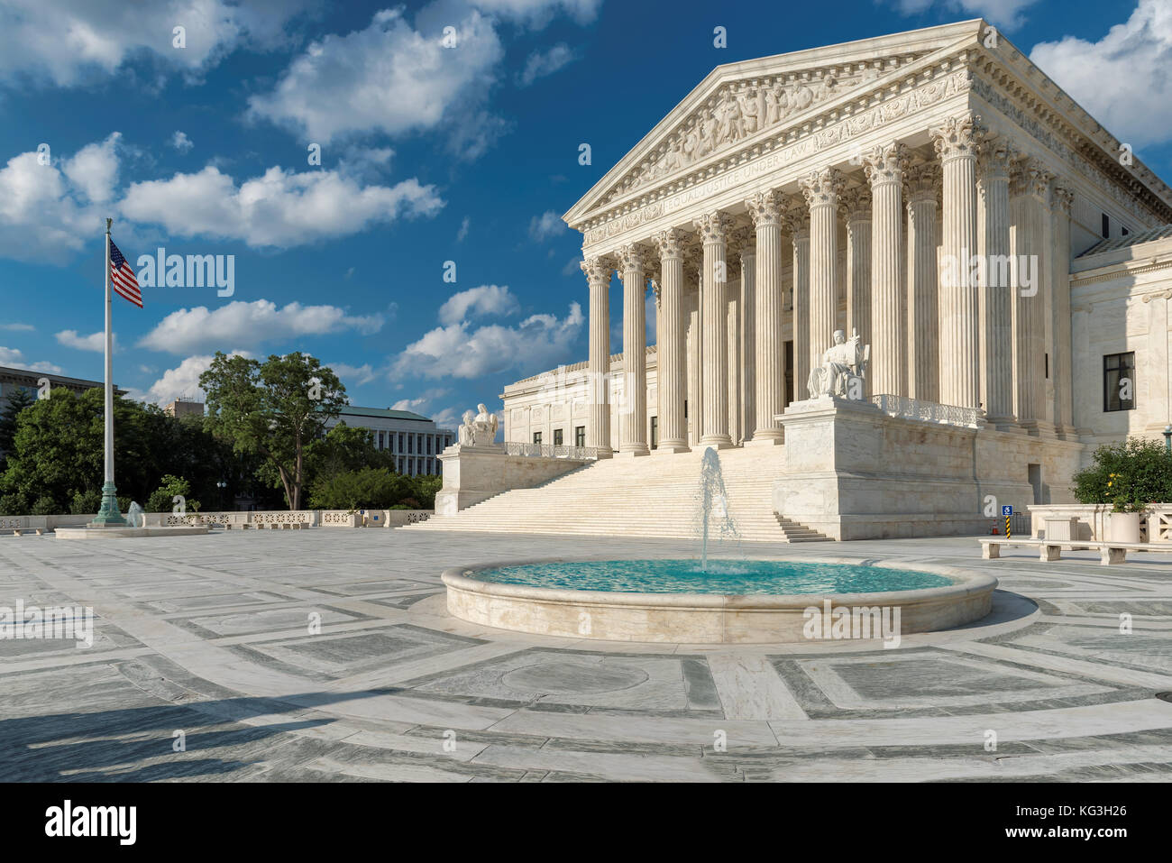 United States Supreme Court Building and fountain at sunny day in Washington DC, USA. Stock Photo