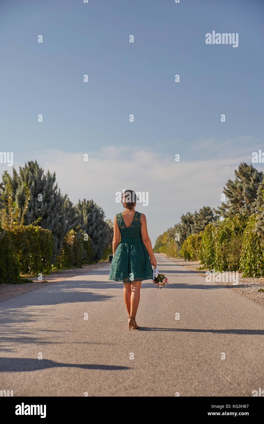 Bride with flowers - Stock Image