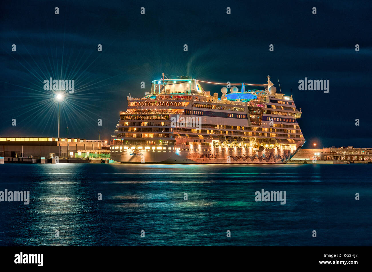 AIDA Stella cruise ship docked in Palma port, Palma de Majorca, Balearic Islands,  Spain. Stock Photo