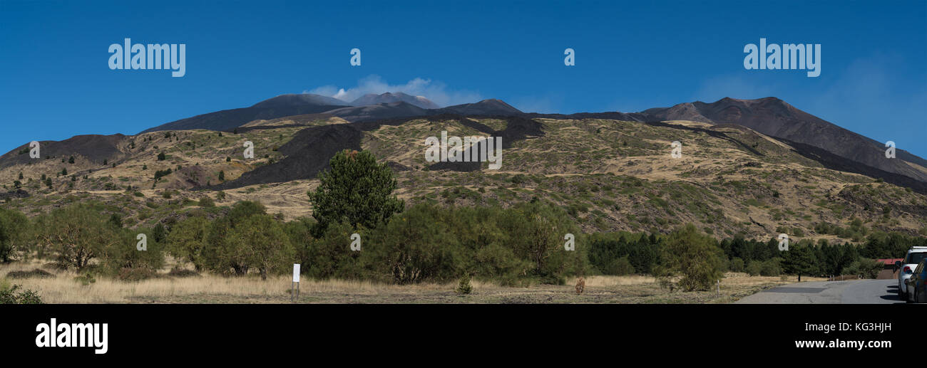 Panoramic  view of the Sicilian Volcano,Mount Etna.  Vista of summit craters,recent lava flows and strong fumarole - Stock Image