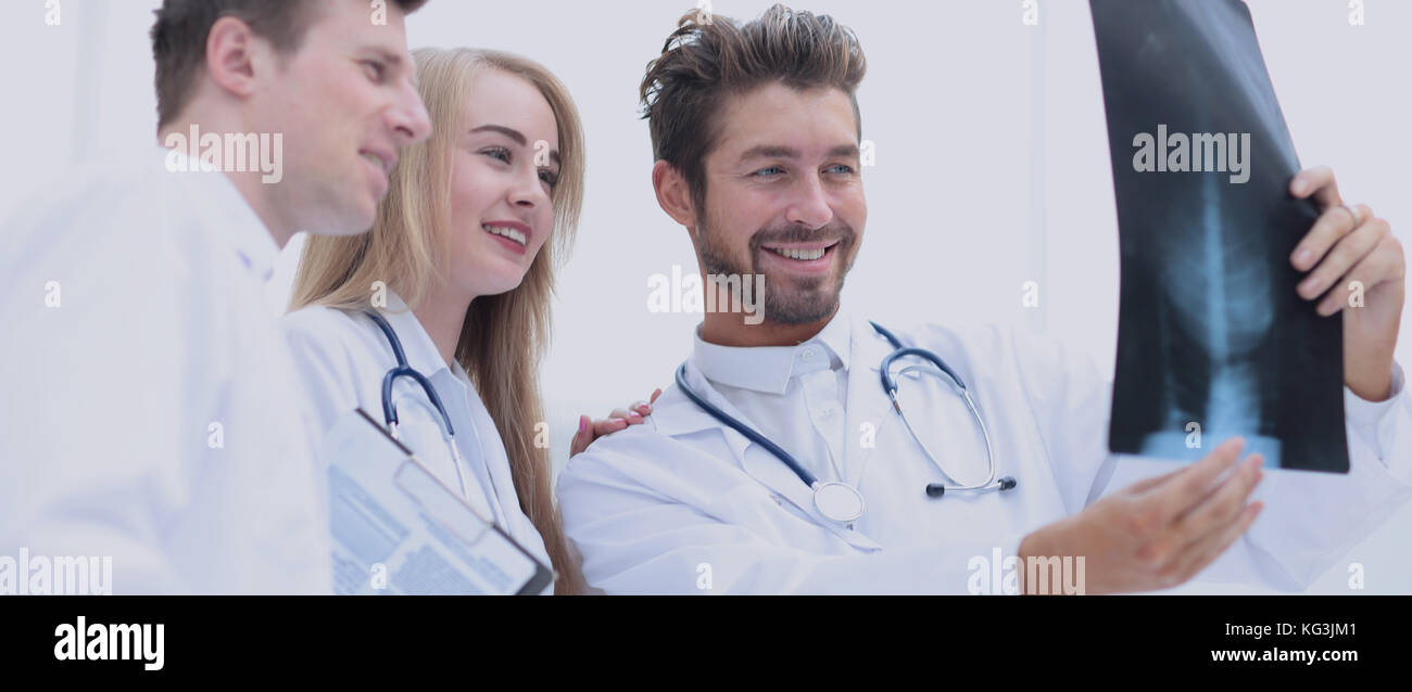 Closeup portrait of intellectual healthcare professionals with w Stock Photo