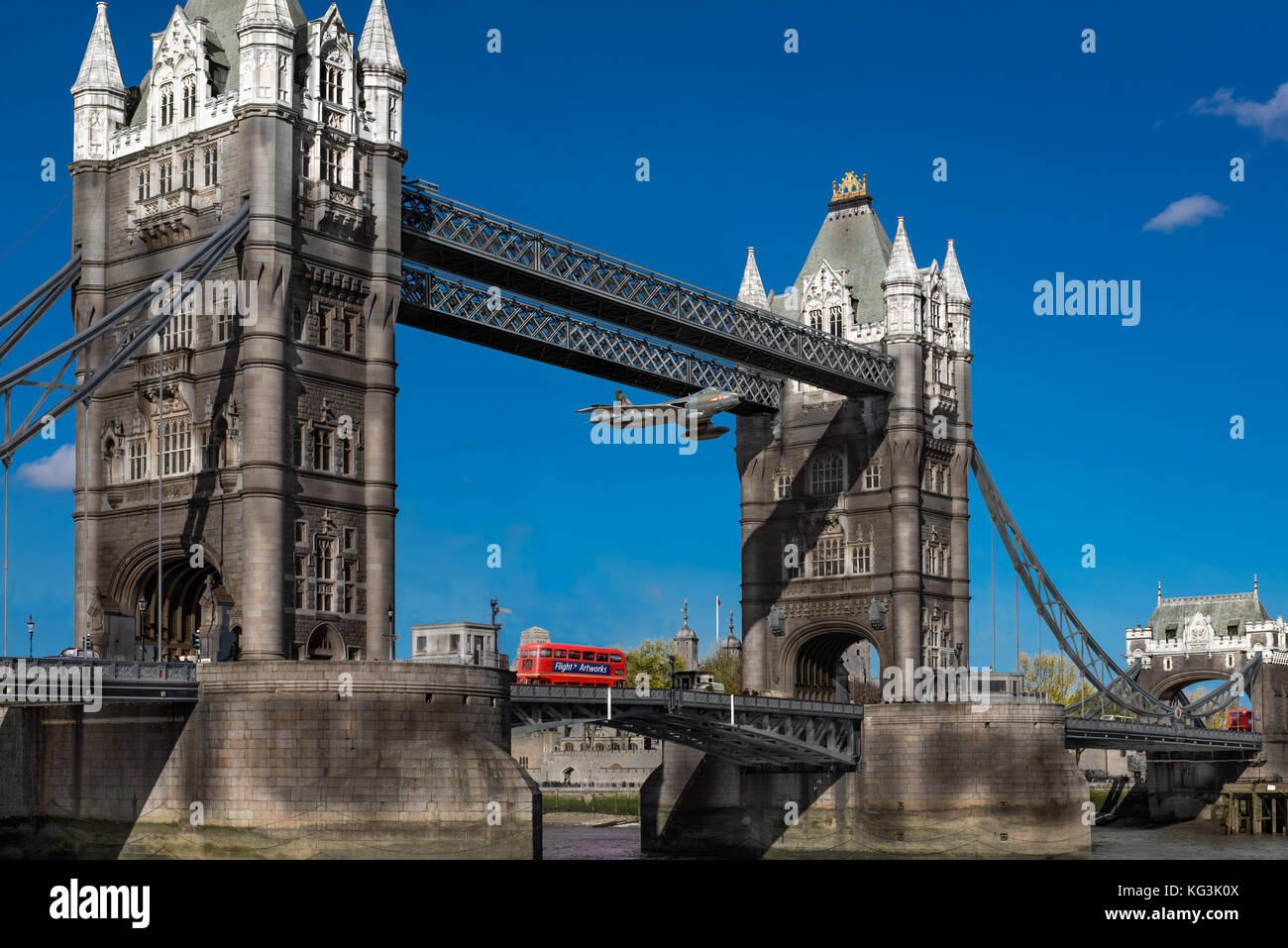 On 5 April 1968 RAF fighter pilot Alan Pollock flew his Hawker Hunter jet through Tower Bridge in London as a protest - Stock Image