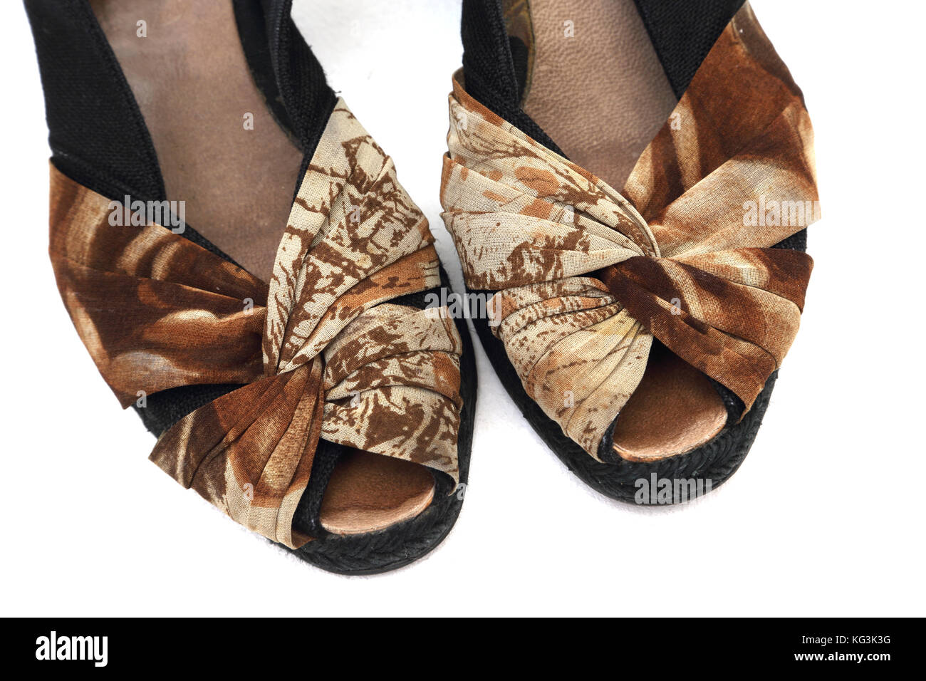 A Pair of Slingback Wedged Sandals - Stock Image