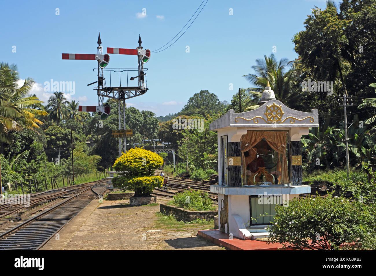 Peradeniya Junction Station Kandy Central Province Sri Lanka Buddhist Shrine on platform Stock Photo