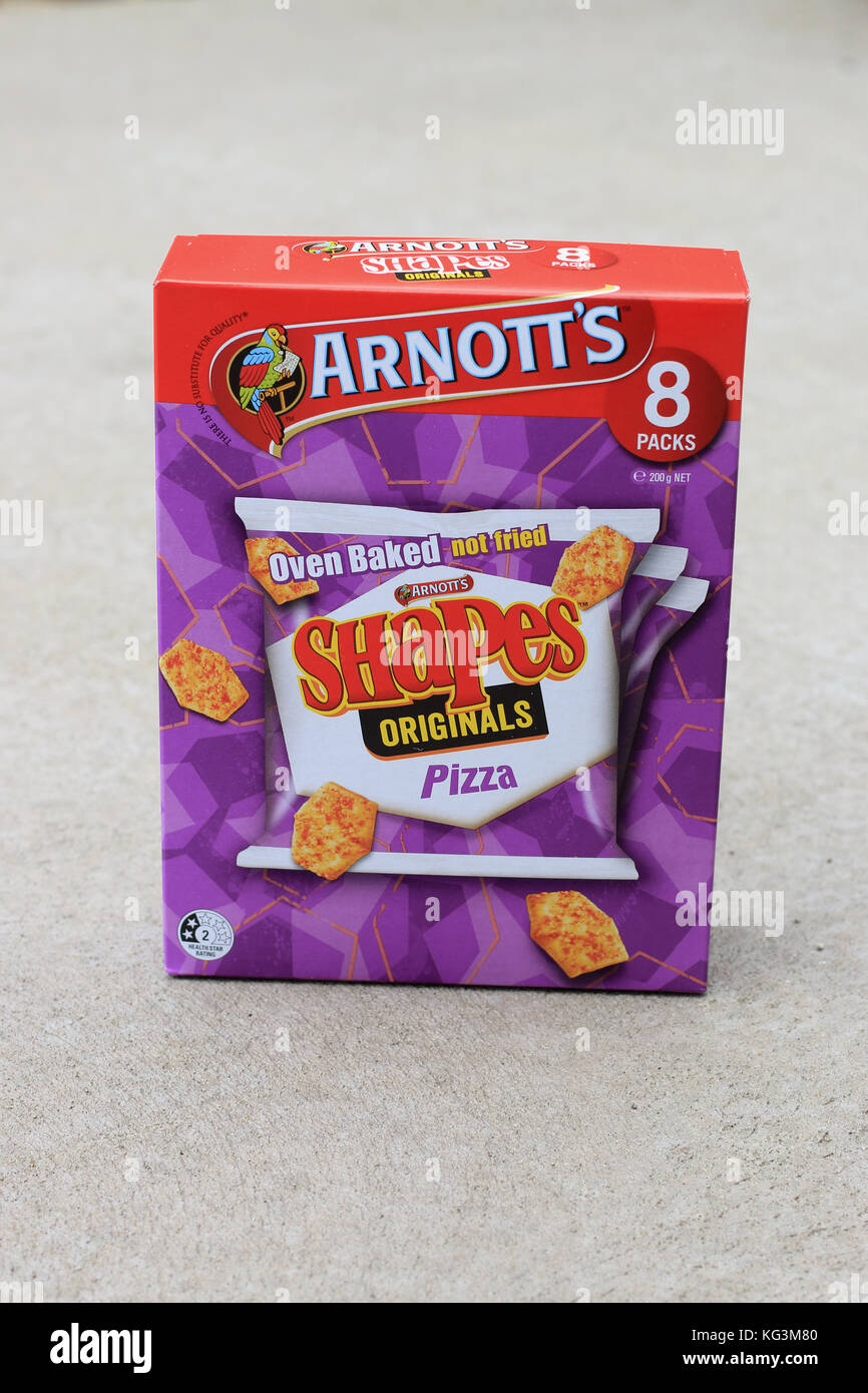 A box of Arnott's Oven Baked Shapes Originals Pizza crackers Stock Photo