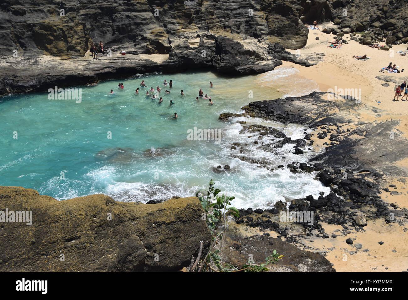 Halona Beach Cove - Oahu, Hawaii - Stock Image