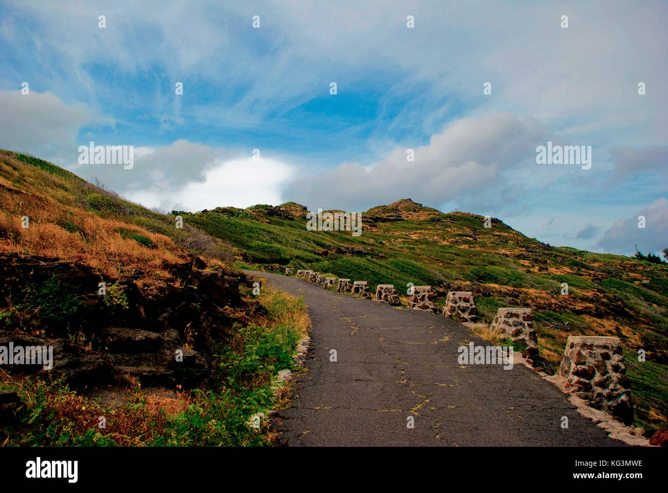 Trail to Makapu'u Point - Oahu, Hawaii - Stock Image