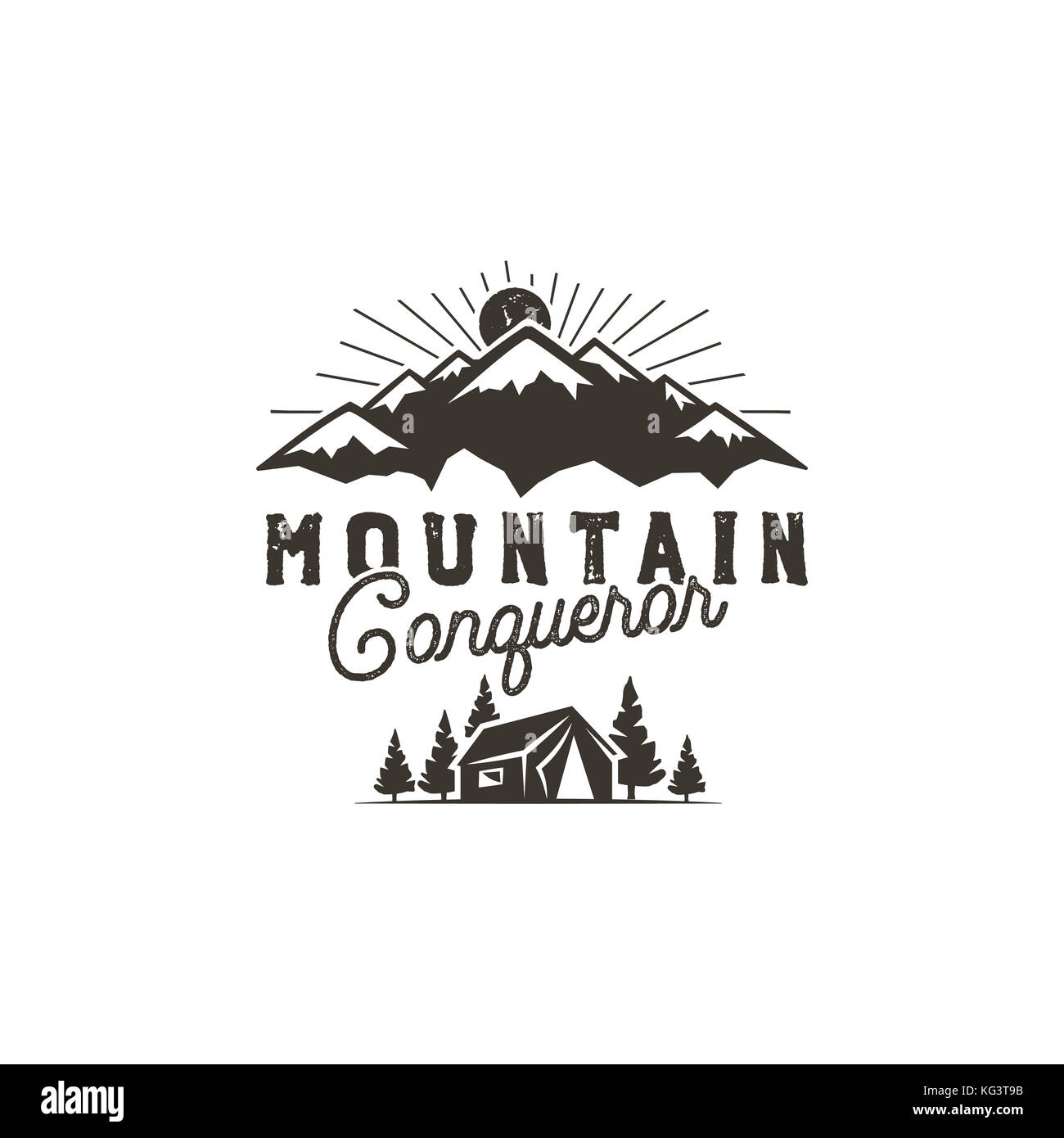 Traveling, outdoor badge. Scout camp emblem. Vintage hand drawn monochrome design. Mountain conqueror quote. Stock - Stock Image