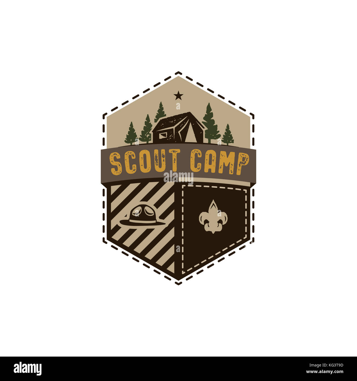 Traveling, outdoor badge. Scout camp emblem. Vintage hand drawn design. Retro colors palette. Stock illustration, - Stock Image