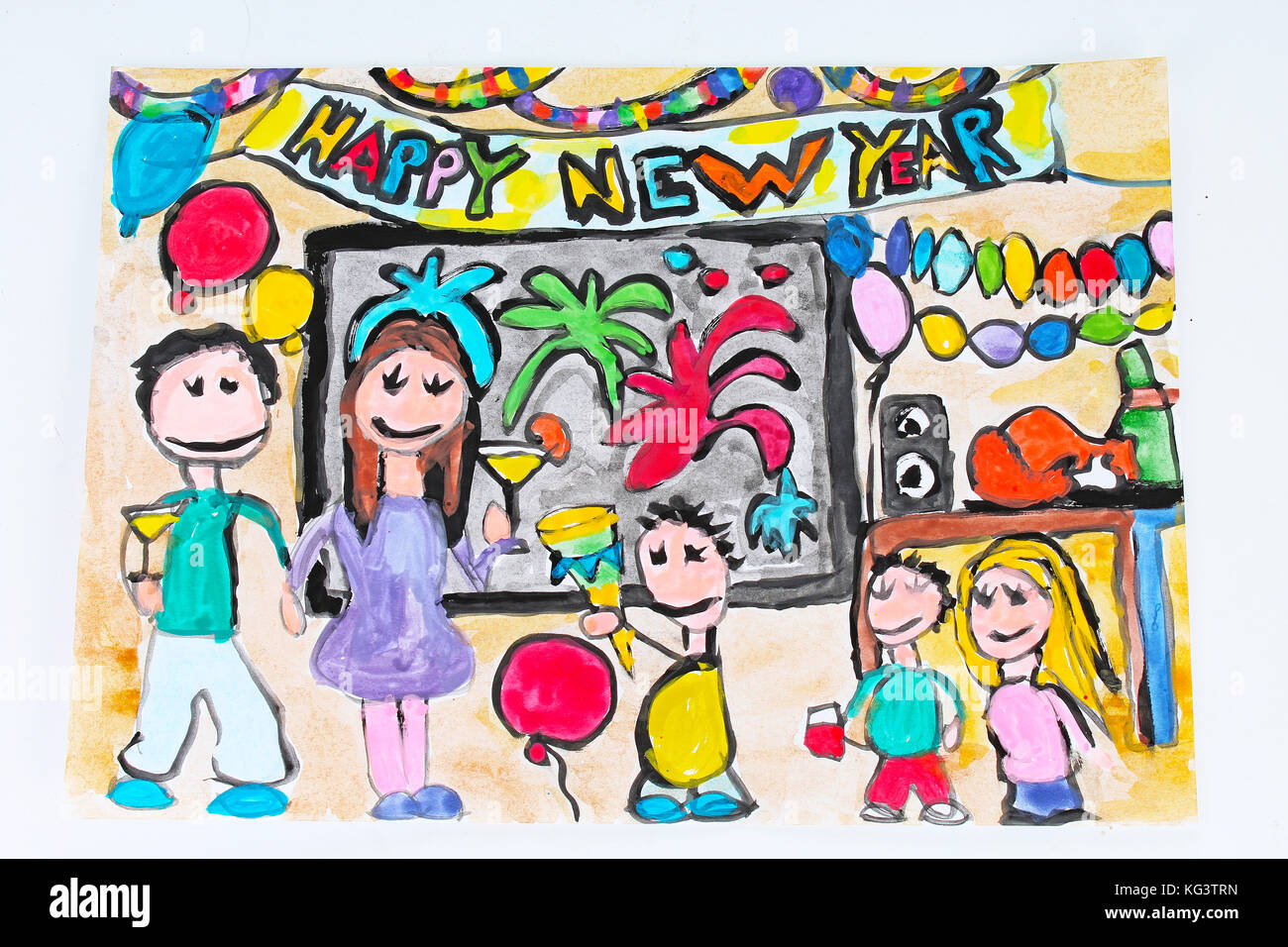 Happy New Year Child Draw Children Drawings Paintings Stock Photo