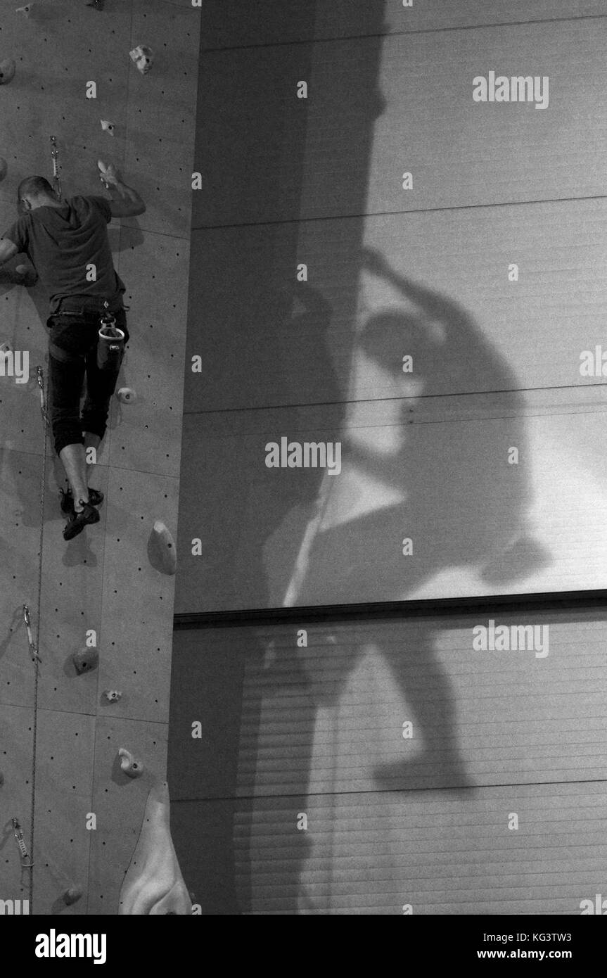 Man Climbing with Ropes on Climbing Wall - Stock Image