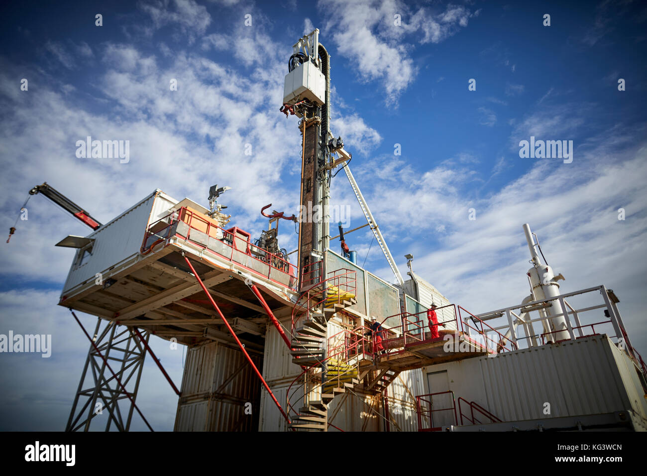 Fracking firm Cuadrilla drilling for shale gas in Lancashire, pictured The drilling well - Stock Image