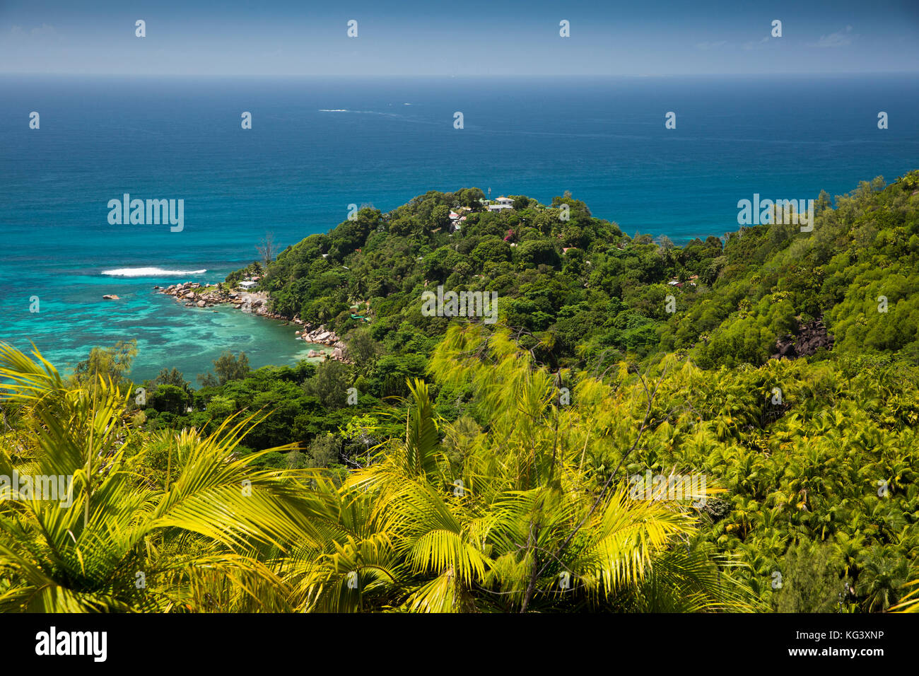 The Seychelles, Praslin, elevated view of Anse Marie-Louise from Fond Ferdinand Nature Reserve - Stock Image