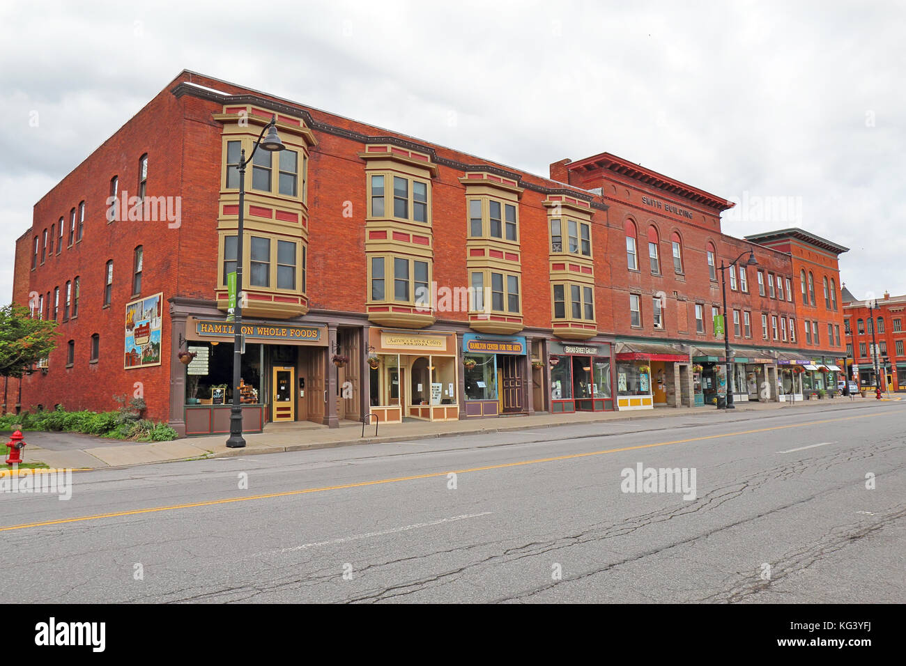 HAMILTON, NEW YORK - MAY 28 2017: Buildings on Broad Street in the Hamilton Village Historic District in the village Stock Photo