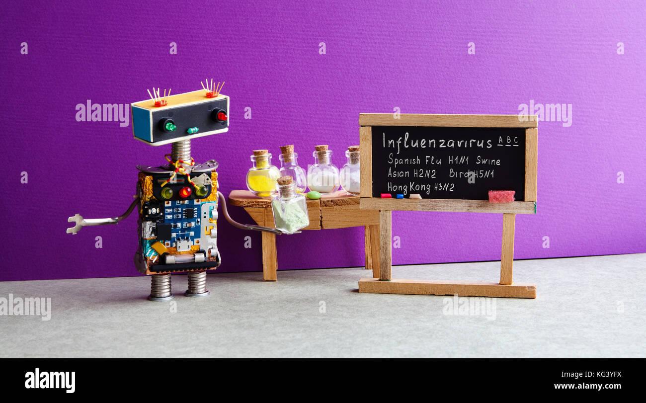 Types of Influenza Viruses poster. Doctor robot antiviral drugs tube, chalkboard Flu variations infographic handwritten: - Stock Image