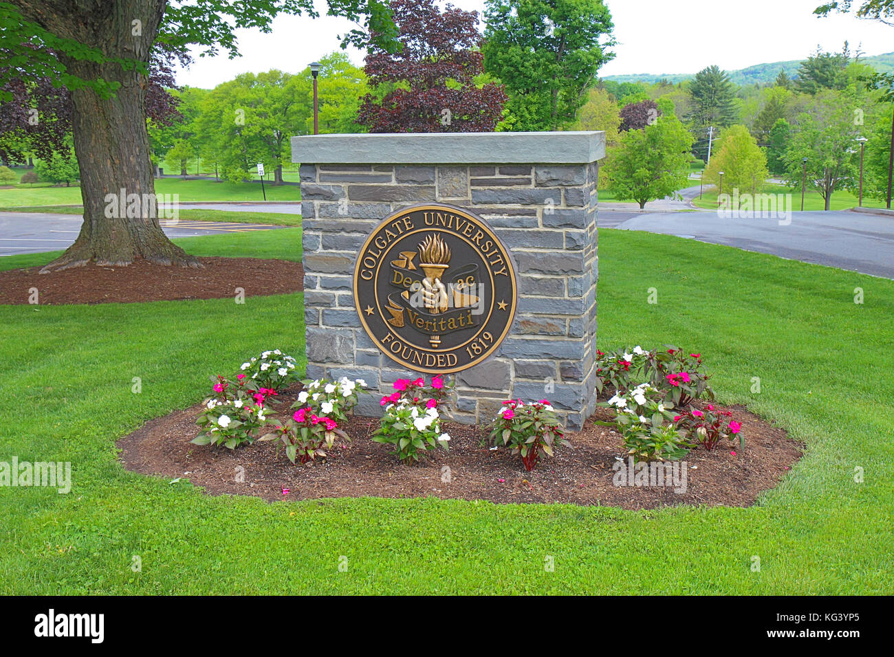 HAMILTON, NEW YORK - MAY 28 2017: Sign marking the campus of   Colgate University in the village of Hamilton in Stock Photo