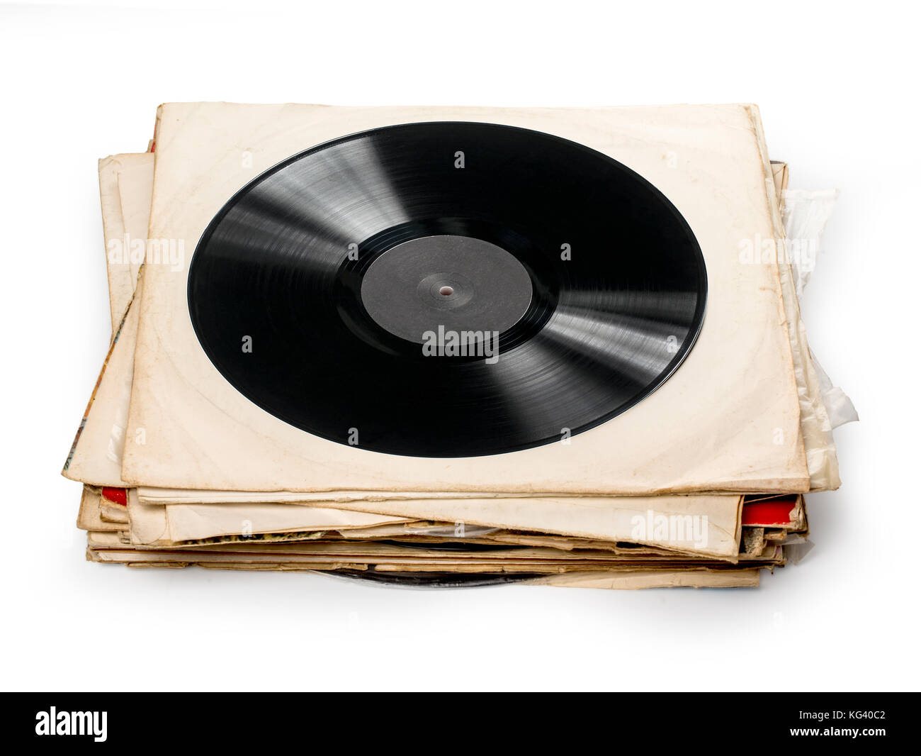 Used vinyl records with shaddow on white background Stock Photo