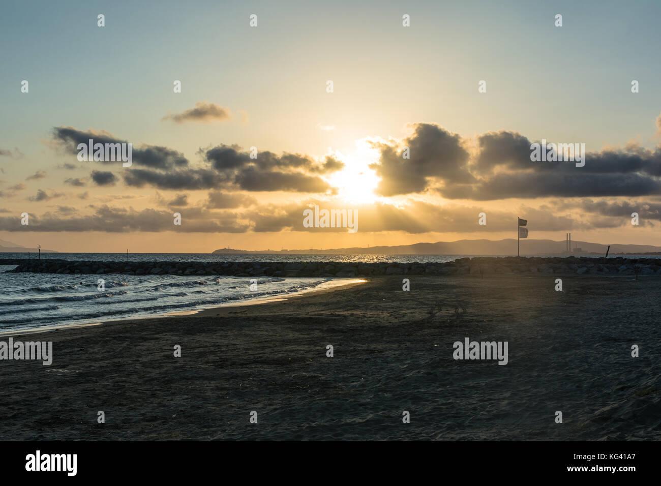Sunset in Piombino, Italy - Stock Image