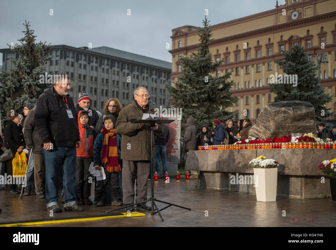 Veteran human rights activist Sergei Kovalyov reading the names of people killed in the Communist era. He was one - Stock Image