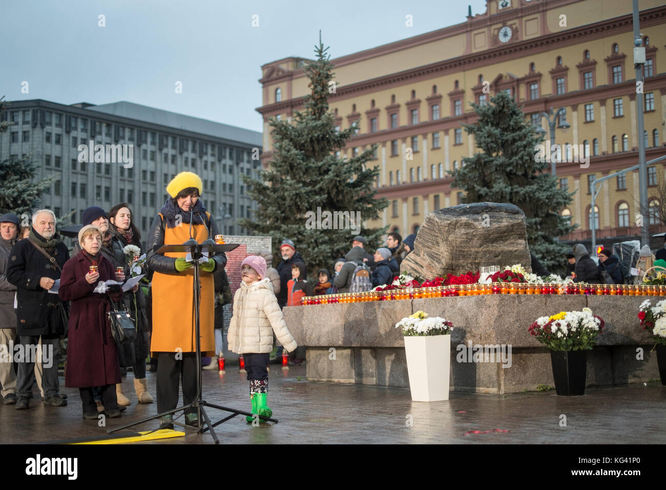 More than 5,000 people took part in a ceremony in Moscow's Lubyanka Square on October 29, 2017, to commemorate - Stock Image