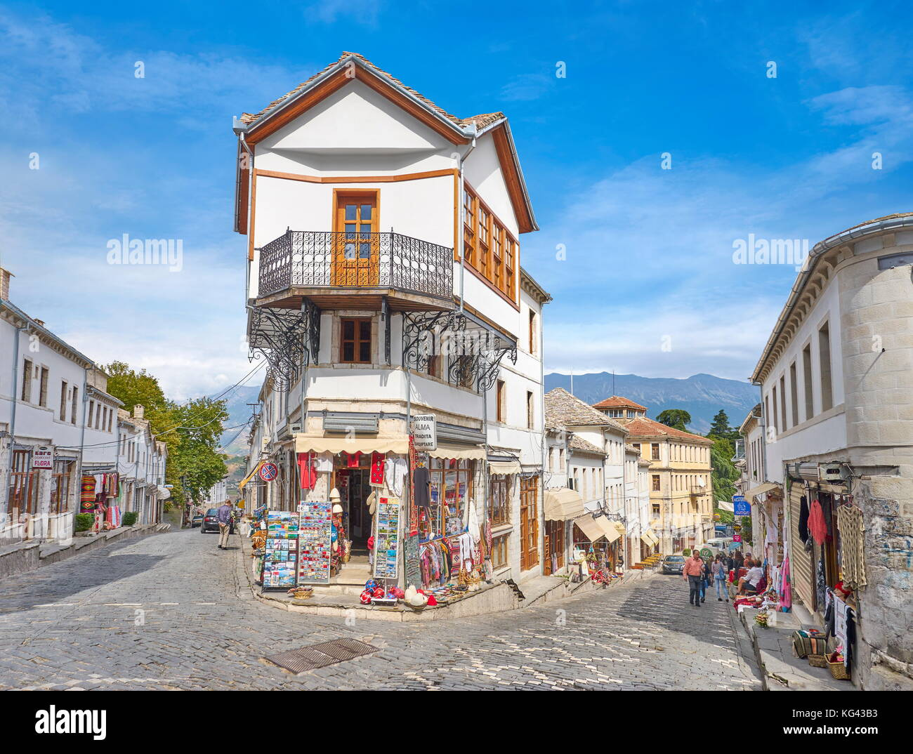 Old town in Gjirokaster, UNESCO World Heritage Site, Albania Stock Photo