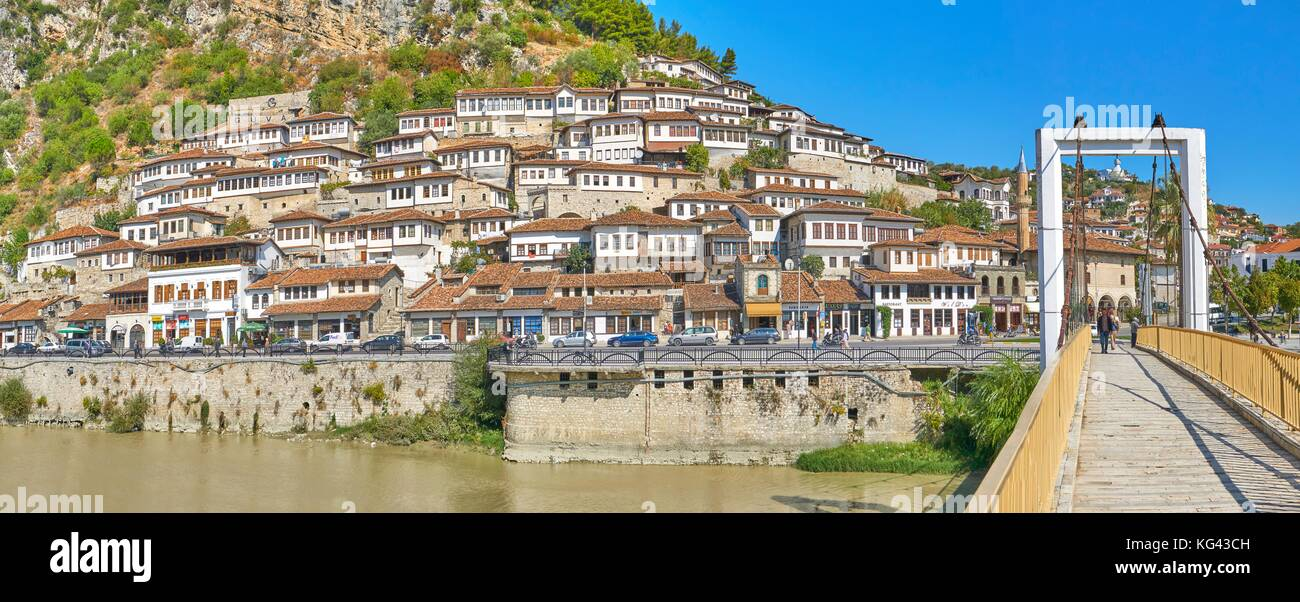 The Osumi River and the white houses at the Berat Old Town, UNESCO, Albania - Stock Image