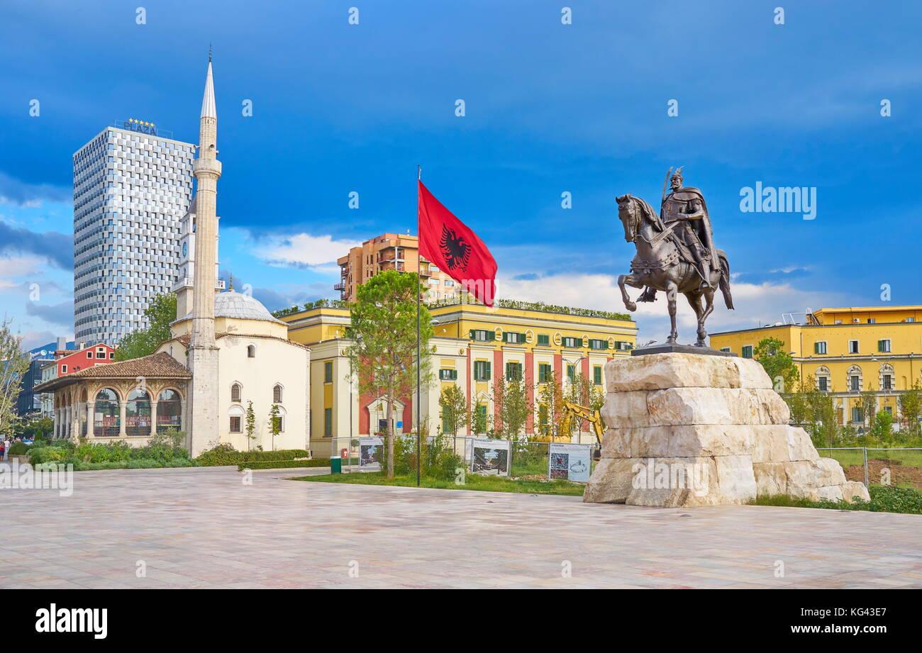 Statue of Skanderbeg, Ethem Bey Mosque and City Hall, Skanderbeg Square, Tirana, Albania - Stock Image