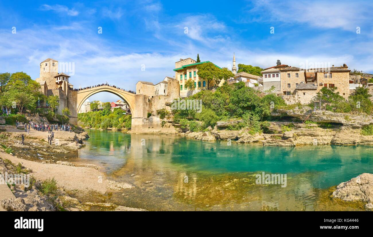 Mostar, Bosnia and Herzegovina - panoramic view of Stari Most or Old Bridge, Neretva River - Stock Image