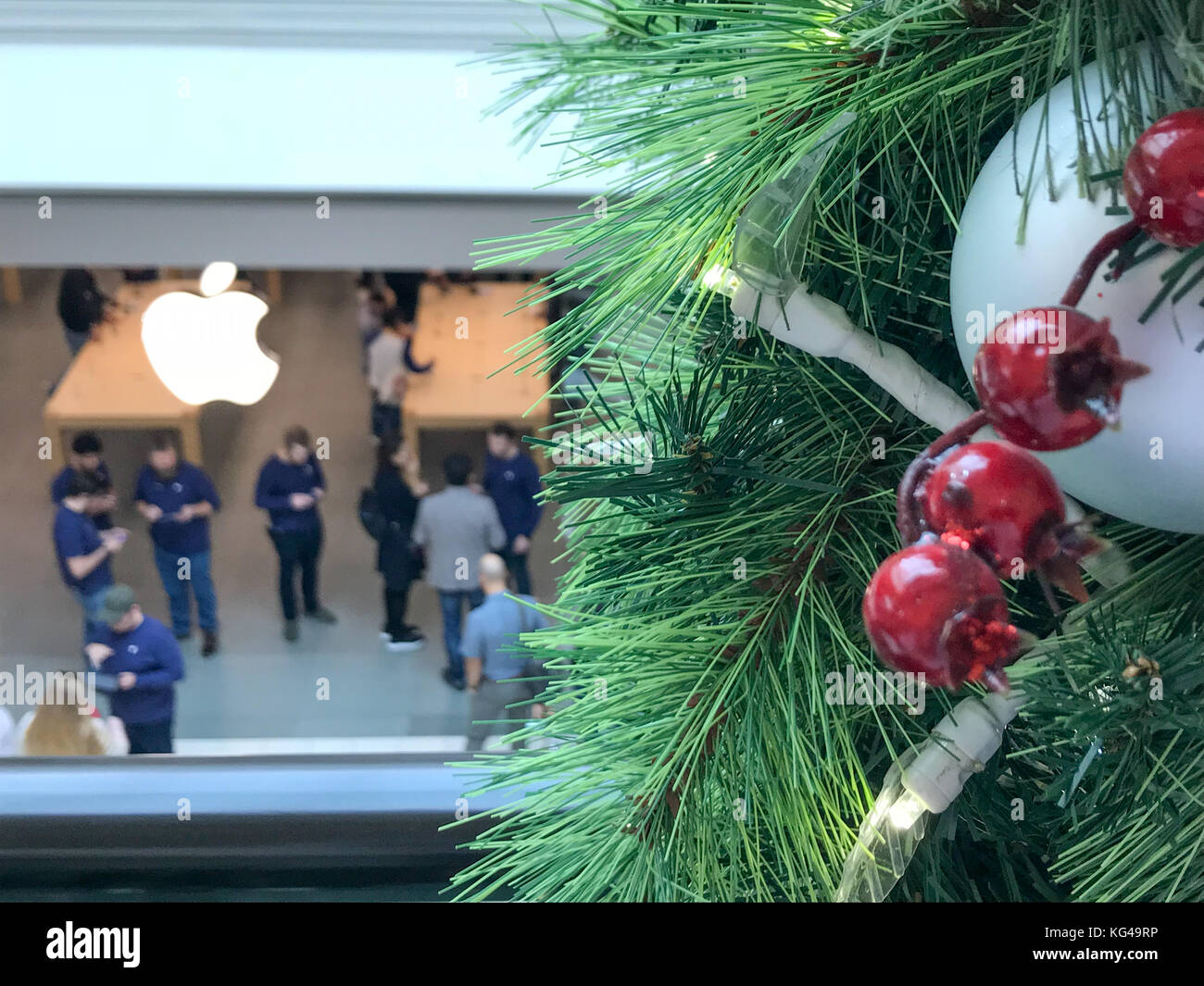 Pennsylvania, USA. 3rd Nov, 2017. Apple customers wait in line to pick up their pre-ordered Apple iPhone X/iPhoneX - Stock Image