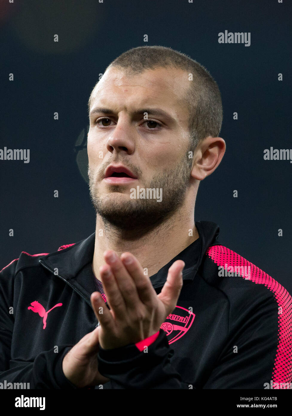London, UK. 02nd Nov, 2017. Jack Wilshere of Arsenal ahead of the UEFA Europa League group stage match between Arsenal - Stock Image