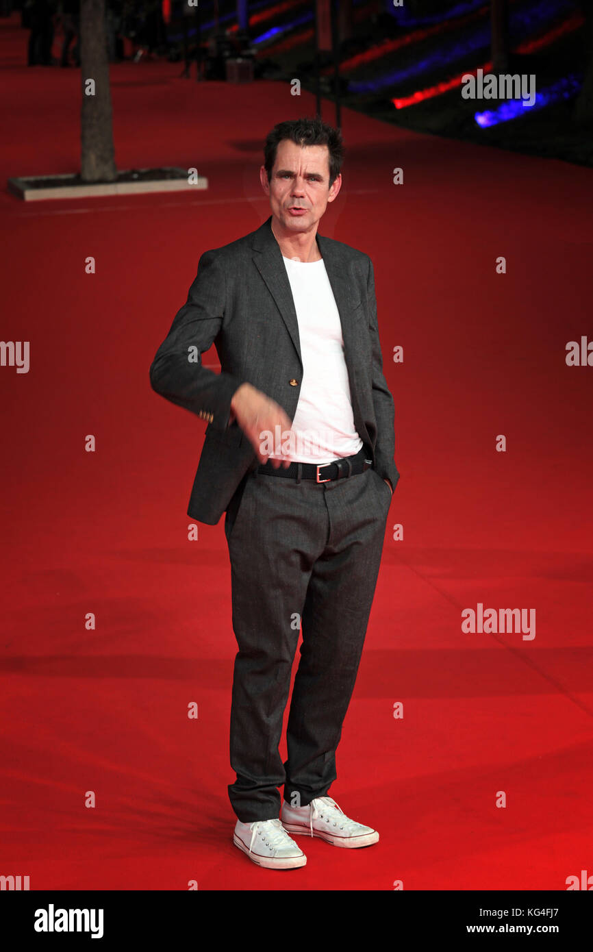 ROME, ITALY - NOVEMBER 02: Tom Tykwer and Antonio Monda walk a red carpet for 'Babylon Berlin' during the 12th Rome Film Fest at Auditorium Parco Della Musica on November 2, 2017 in Rome, Italy. Stock Photo