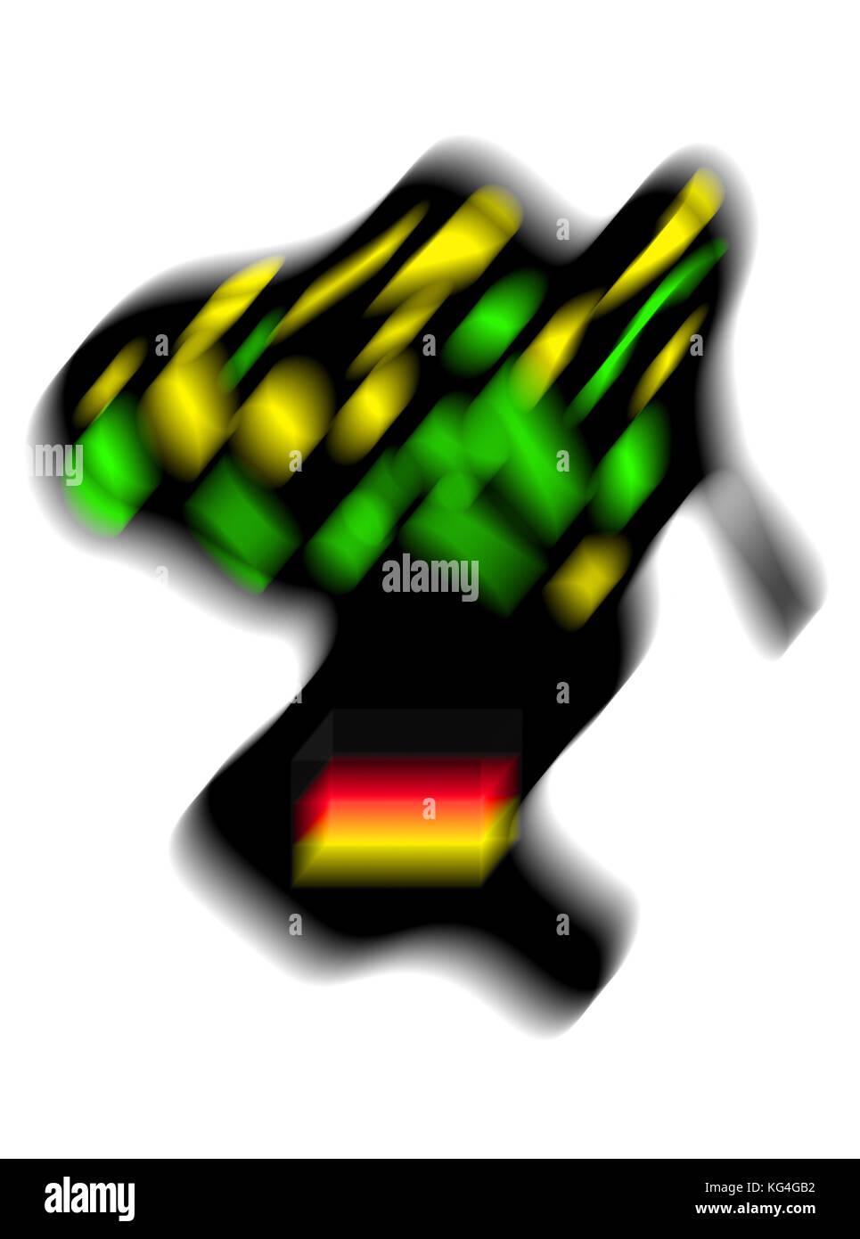 Jamaika, Coalition, Jamaica,Koalition, Schwarz Gelb Grün Gespenst mit Bundesflagge, Schwampel,Europa,Germany,Deutschland - Stock Image