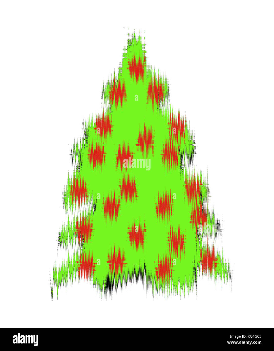 Weihnachtbaum mit roten Kugeln auf weissem Fond, Christmas tree with red baubles on white underground - Stock Image