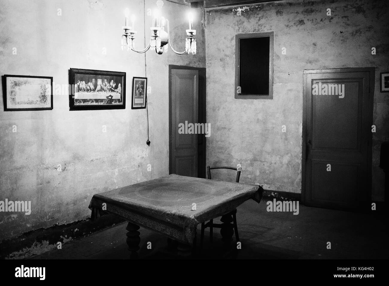 What is left of the old living room that belongs to the shop called 'Magatzems del Pilar' in the Boqueria - Stock Image