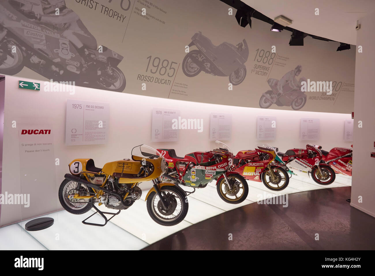 Motorcycles on display at the Ducati factory museum, Bologna, Italy. - Stock Image