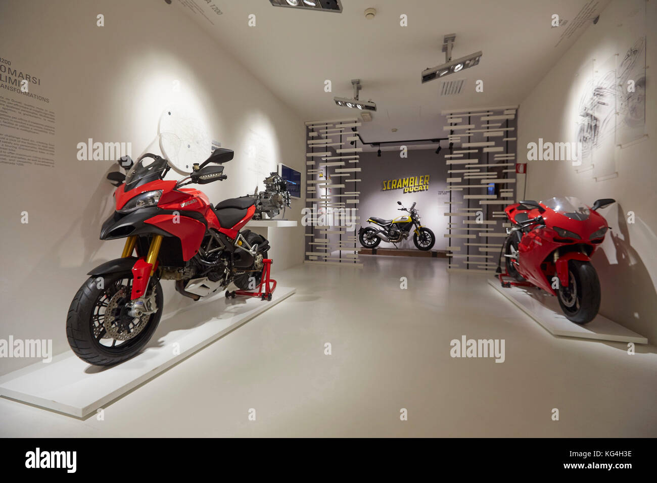 Left to right: Ducati Multistrada, Scrambler street bike, 1098 superbike on display at the Ducati factory museum, Stock Photo
