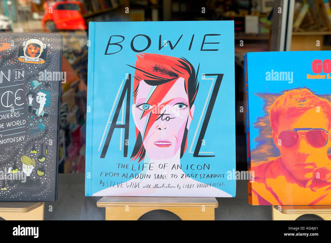 David Bowie  'A Life of An Icon'  A to Z book for sale in a bookstore window in Highland Park, Los Angeles, - Stock Image