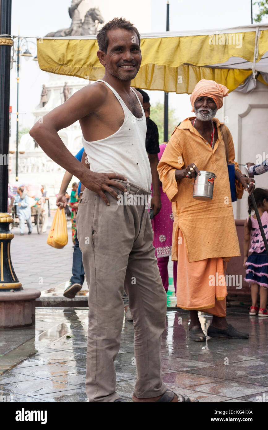 Two men standing in the street, Amritsar, India - Stock Image